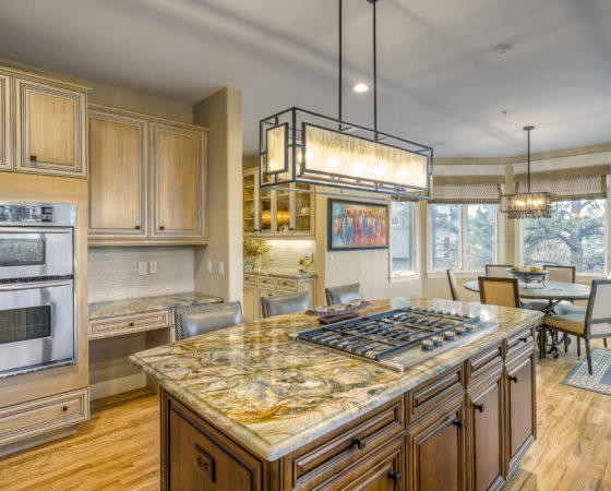 Kitchen makeover with great lighting, great for entertaining
