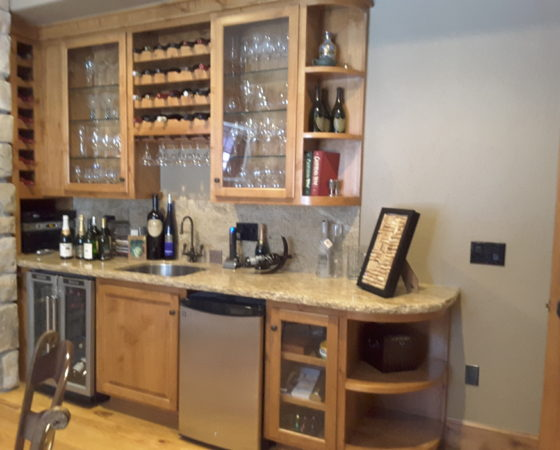Wine Room with refrigerator and over-counter glass & wine storage