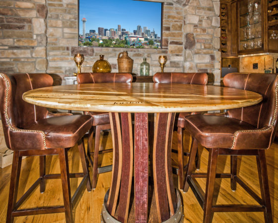 Castle Pines Colorado home with custom wine room and table