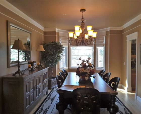 Dining Room with dated table & chairs