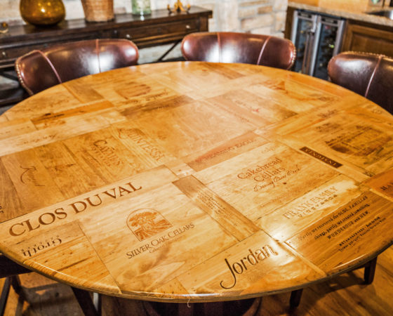 Custom Wood Table made from Wine Crates in Castle Pines Colorado